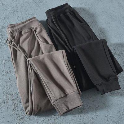 不起球基本款日单纯色卫裤男长裤纯棉外贸尾单修身小脚运动裤剪标