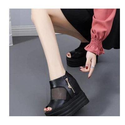 13CM夏季凉拖鞋坡跟超高跟防水台厚底黑色鱼嘴凉鞋松糕跟罗马女鞋