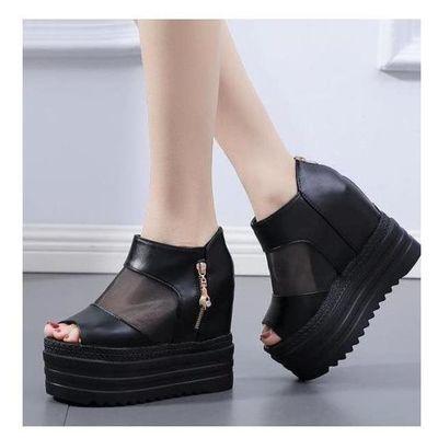 14CM高跟鞋女2020夏季新款坡跟凉鞋厚底鱼嘴一字外穿松糕跟凉拖鞋