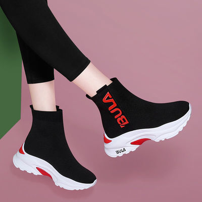 高帮弹力袜子鞋2020秋季新款潮百搭春秋单靴内增高运动广场舞女鞋