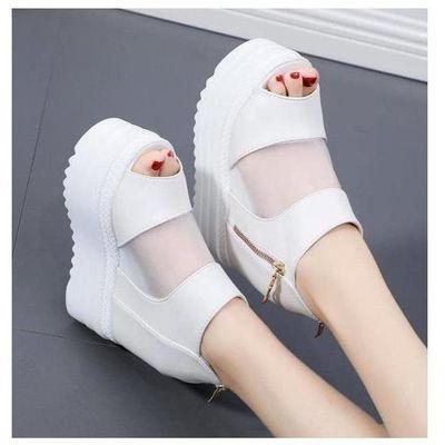 新款超高跟凉拖鞋女14CM坡跟厚底松糕底鱼嘴性感女皮带扣凉鞋拖鞋