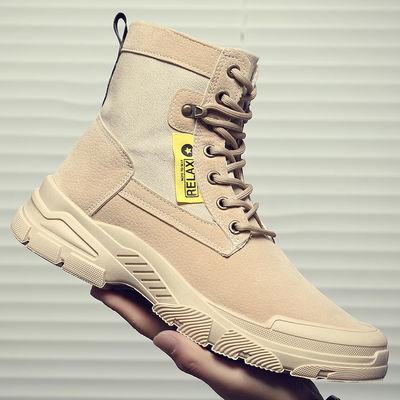 2020新款秋冬马丁靴帆布工装军靴作战靴男士户外高帮男鞋沙漠靴子