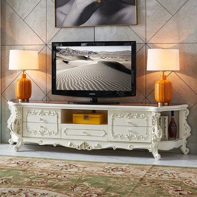 依然美佳奢华客厅地柜欧式电视柜锦鲤雕花实木储物柜主卧轻奢家具