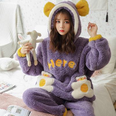 秋冬季珊瑚绒睡衣女冬加厚加绒学生ins韩版可爱法兰绒家居服套装