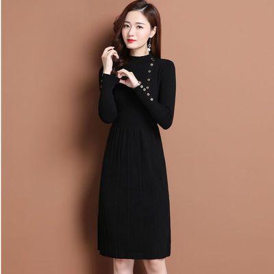 毛衣连衣裙女2020新款中长款过膝修身秋冬套头半高领打底针织裙