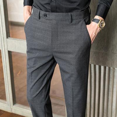 秋冬款男士商务休闲免烫西装长裤子韩版修身直筒小脚条纹西裤男潮