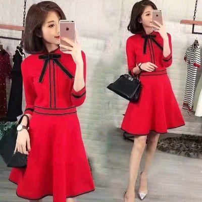 单/加绒加厚新款女装收腰礼服红色少女裙子法式小个子打底连衣裙
