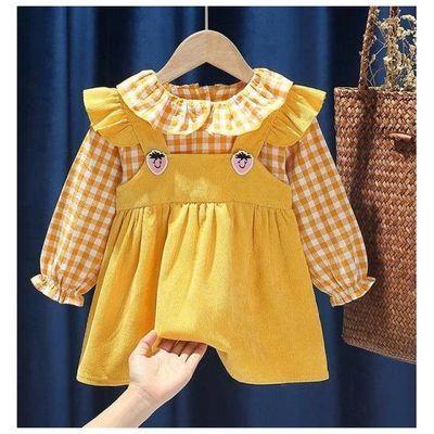 儿童春季连衣裙女宝宝假两件洋气公主裙秋小女孩娃娃领背带裙子潮