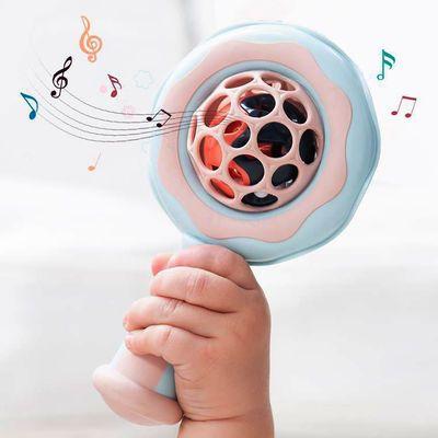 手摇铃牙胶婴儿玩具3-6-12个月新生儿摇铃 0-1岁宝宝益智早教幼儿