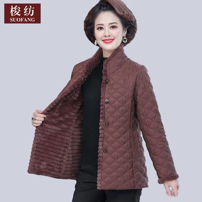 妈妈短款棉衣外套中年女装秋冬装加绒加厚羽绒棉服中老年棉袄上衣