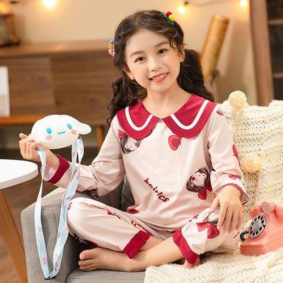 儿童睡衣春秋冬长袖女童卡通可爱公主风中大童空调家居服厚款套装