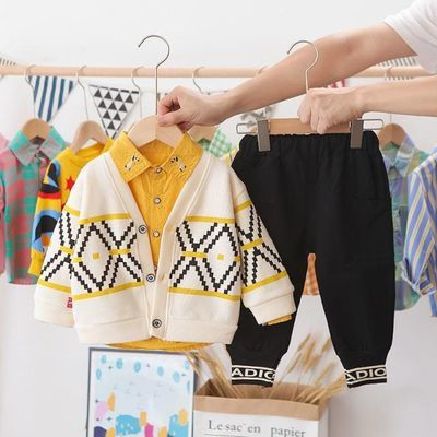 新款男宝宝帅气套装春季男童针织衫春秋季小童装婴儿童洋气三件套