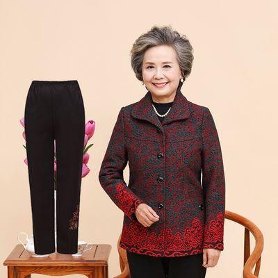 秋装外套女妈妈装两件套装60-70岁奶奶装秋冬短外套老年人上衣