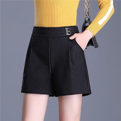 2020秋冬新款显瘦黑色松紧宽松韩版女大码高腰外穿女阔腿短裤时尚