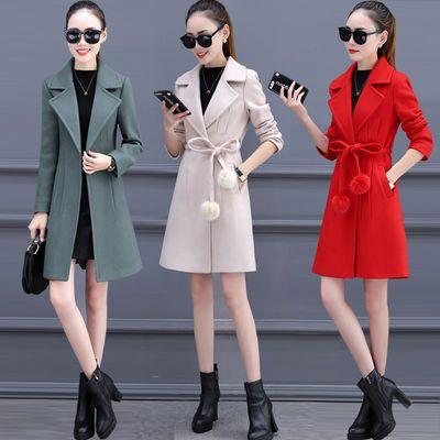 新年红特价毛呢外套女2020中长款秋冬韩版小个子百搭呢子大衣女