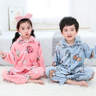 秋冬季珊瑚绒儿童睡衣女童男童套装小孩法兰绒宝宝女孩长袖家居服