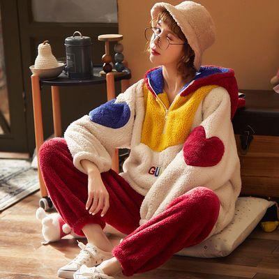 南极人冬季睡衣女加厚珊瑚绒长款冬季睡衣家法兰绒居服套装