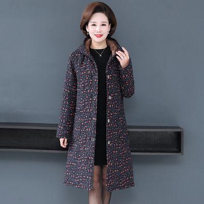中老年棉衣秋冬装加绒加厚外套中年女装保暖棉服妈妈中长款花棉袄