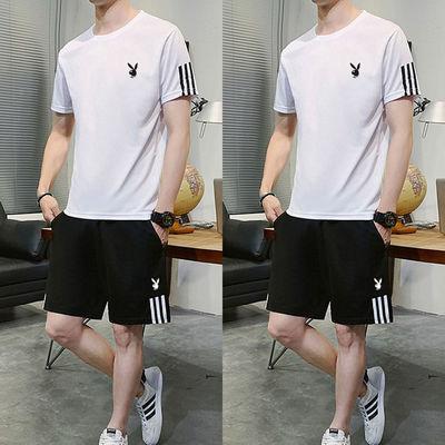 花花公子夏季休闲运动服男士短袖短裤两件套宽松速干跑步冰丝套装
