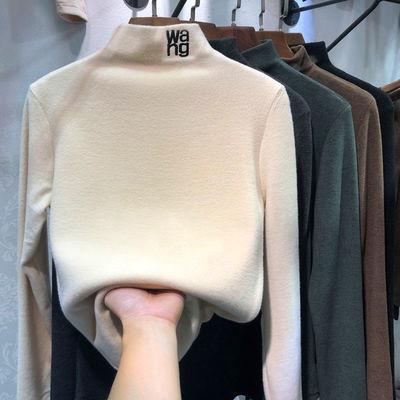 【加绒加厚】磨毛半高领米色打底衫女秋冬新款韩版长袖保暖上衣女