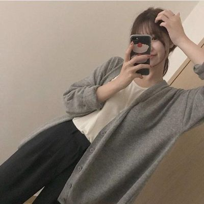 灰色毛衣上衣2020春秋慵懒风长袖百搭宽松薄款开衫外套女针织外搭