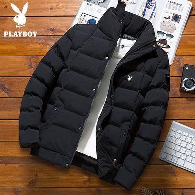 花花公子贵宾冬季新款加厚羽绒服短款立领纯色加厚保暖外套时尚