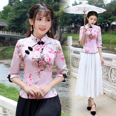 春夏季复古旗袍上衣女改良唐装中式套装茶服民国风汉服女装两件套