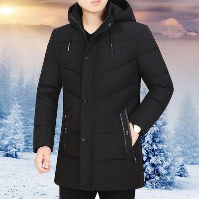 冬季男装棉衣男大码加绒棉袄中长款加厚老人棉服青中年面包服外套
