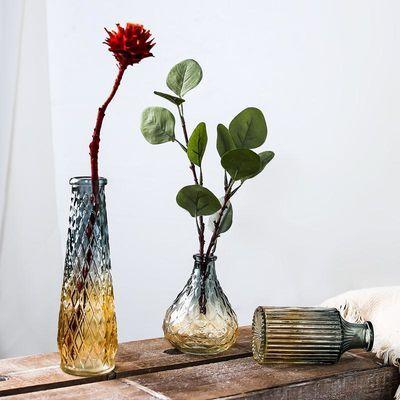 透明玻璃小花瓶摆件北欧创意简约客厅餐桌装饰品水培干花插花花器