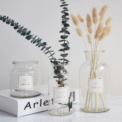简约mini透明玻璃小花瓶矮款创意贴纸ins北欧大号水培flowerplus