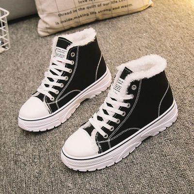 儿童冬季加绒布鞋中大童棉鞋男运动板鞋12跑步13保暖帆布鞋女15岁