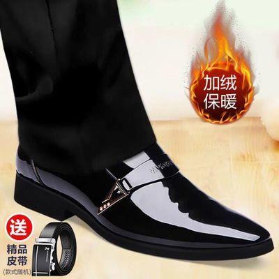 【能穿三年】秋季商务正装透气皮鞋男韩版冬季加绒黑色尖头上班鞋