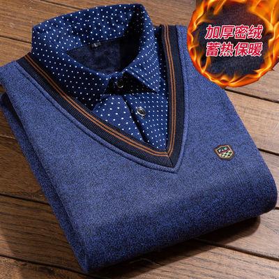 秋冬季假两件男毛衣衬衫领针织衫上衣男装加绒加厚保暖打底衫外套