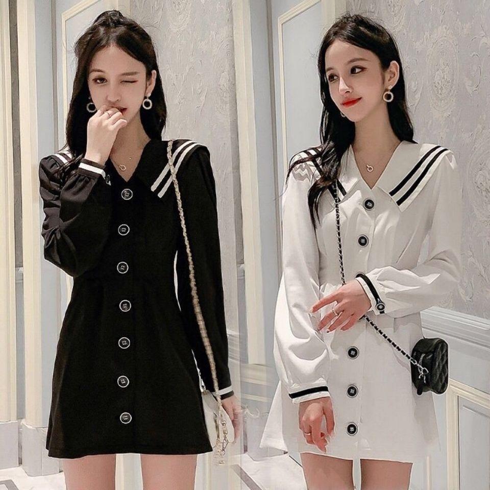 秋季连衣裙2020新款韩版洋气收腰显瘦气质中长款长袖A字裙学院风