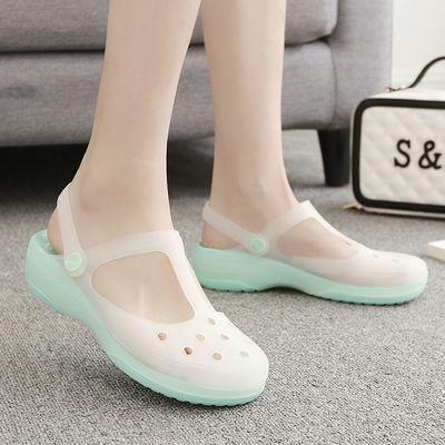 洞洞鞋女凉鞋玛丽珍变色透明果冻鞋女鞋沙滩鞋女厚底旅游防滑凉鞋