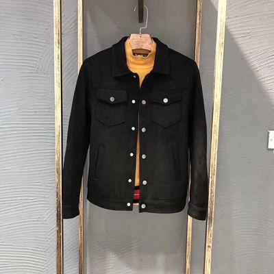 欧洲站新款高品质外套男鹿皮绒夹克简约大气网红款修身潮牌宽松