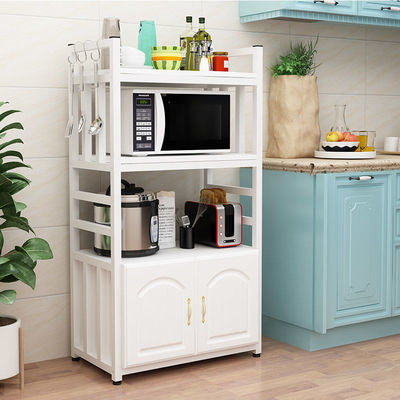 厨房置物架落地式多层微波炉架子橱柜烤箱收纳储物架家用柜子白色