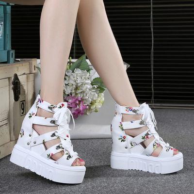 凉鞋女夏超高跟11cm厚底松糕罗马鞋坡跟镂空透气鞋内增高鱼嘴凉鞋