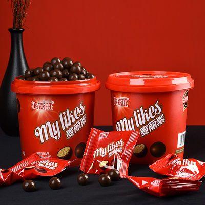 麦丽素桶装夹心巧克力豆158g网红零食小吃儿童巧克力饼干糖果批发