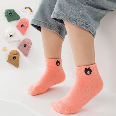 5双装儿童袜子春秋冬款男女宝宝中筒袜子中大童0-12岁学生透气袜
