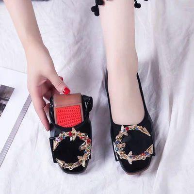 春秋婚鞋女新款新娘鞋平跟红色浅口鞋粗跟孕妇结婚鞋敬酒红鞋单