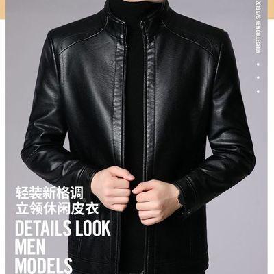 爆款皮衣--皮衣男士皮夹克中年加绒翻领大码男式薄外套