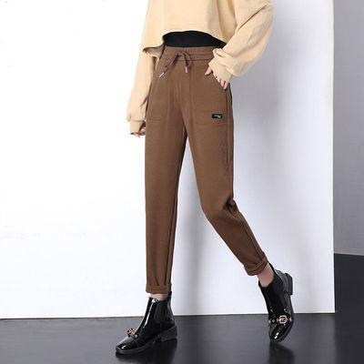 裤子女宽松直筒弹力灯芯绒裤子2020秋季加绒运动裤显瘦休闲灯笼裤