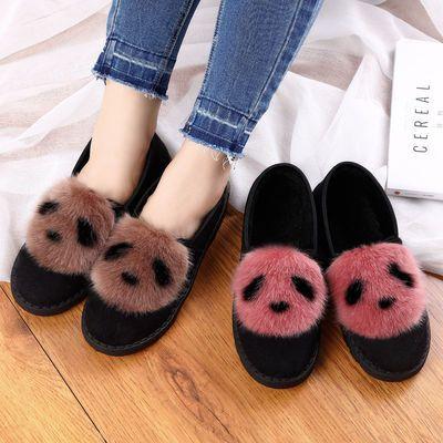韩版保暖厚底豆豆鞋女秋冬季新款毛毛鞋平底百搭棉鞋加绒妈妈外穿