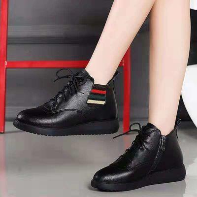 短靴女秋冬2020新款真皮英伦风马丁靴舒适百搭加绒软平底系带女鞋