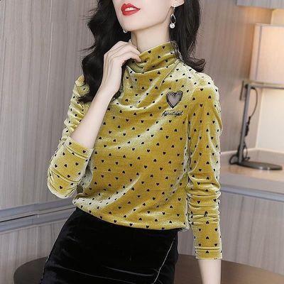金丝绒上衣女长袖2020秋冬新款半高领洋气时尚印花修身内搭打底衫