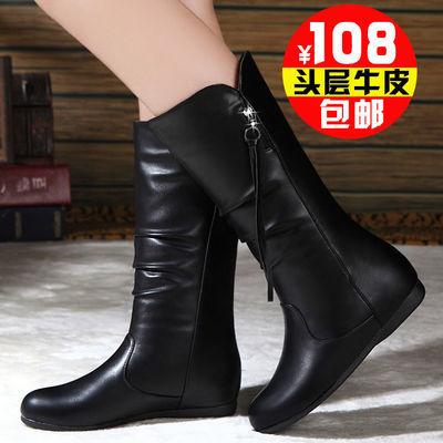 紅I蜻I蜒2020年新款秋冬季短靴女平底马丁靴女靴中筒靴真皮靴子女
