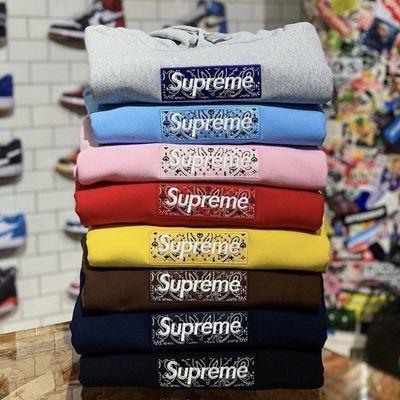 Supre&Box Logo腰果花加绒刺绣连帽卫衣男女同款秋冬新款外套帽衫