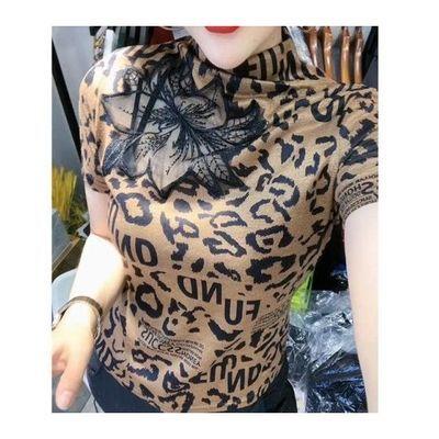 秋冬新款时尚性感镂空t恤女短袖修身洋气豹纹高领半袖打底衫上衣