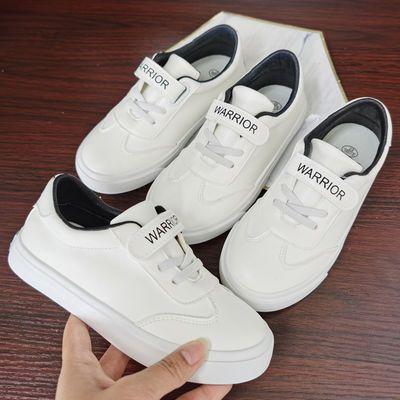 儿童小白鞋女童白色板鞋男童休闲球鞋中大童鞋小学生运动鞋子皮面